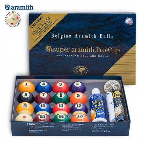 sada koulí pool Super Aramith 57,2mm + tréningová koule + utěrka+ čistič koule
