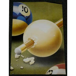 poster cue with pool balls